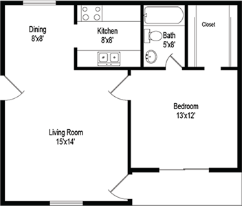 Adastra (A1) - One Bedroom / One Bath - 570 Sq. Ft.*