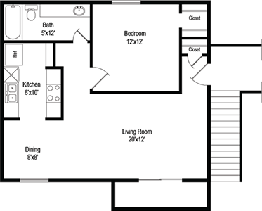 Ash (A2) - One Bedroom / One Bath - 663 Sq. Ft.*