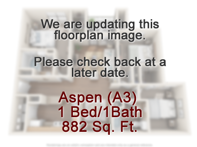 Aspen (A3) - One Bedroom / One Bath - 730 Sq. Ft.*