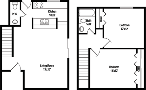 Bella (B2) - Two Bedrooms / One & 1/2 Bath - 922 Sq. Ft.*