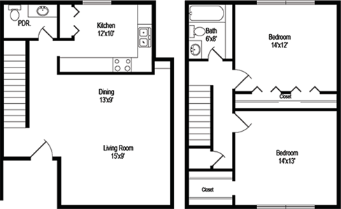 Bannon (B4) - Two Bedroom / One and 1/2 Bath - 1,074 Sq. Ft.*
